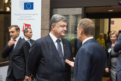 Petro Poroshenko und Donald Tusk Lizenzfreie Stockfotografie