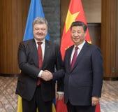 Petro Poroshenko and Xi Jinping Stock Photos