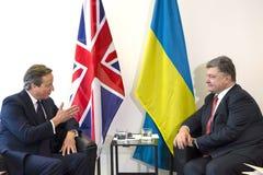 Petro Poroshenko y David Cameron en Nueva York Foto de archivo libre de regalías
