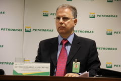 Petrobras Announces new Governance and Management model. Rio de Janeiro, Brazil, 28 January 2016: Aldemir Bendine, president of Petrobras announces new royalty free stock image