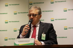 Petrobras Announces new Governance and Management model. Rio de Janeiro, Brazil, 28 January 2016: Aldemir Bendine, president of Petrobras announces new stock image