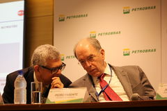 Petrobras announces new pricing policy for fuels in Brazil. Rio de Janeiro, Brazil, October 14, 2016: Pedro Parente, president of Petrobras partecipates in Media stock photo