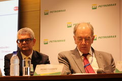 Petrobras announces new pricing policy for fuels in Brazil. Rio de Janeiro, Brazil, October 14, 2016: Pedro Parente, president of Petrobras partecipates in Media royalty free stock image