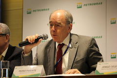 Petrobras announces new pricing policy for fuels in Brazil. Rio de Janeiro, Brazil, October 14, 2016: Pedro Parente, president of Petrobras partecipates in Media stock photography