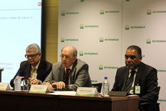 Petrobras announces new pricing policy for fuels in Brazil. Rio de Janeiro, Brazil, October 14, 2016: Pedro Parente, president of Petrobras partecipates in Media stock image