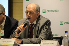 Petrobras announces new pricing policy for fuels in Brazil. Rio de Janeiro, Brazil, October 14, 2016: Pedro Parente, president of Petrobras partecipates in Media royalty free stock photos