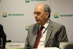 Petrobras announces new pricing policy for fuels in Brazil. Rio de Janeiro, Brazil, October 14, 2016: Pedro Parente, president of Petrobras partecipates in Media royalty free stock photography
