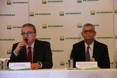 Petrobras announces record loss in 2015. Rio de Janeiro, 21 March 2016: Petrobras holds a press conference to announce financial and operating results for 2015 royalty free stock photography