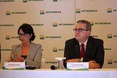 Petrobras announces record loss in 2015. Rio de Janeiro, 21 March 2016: Petrobras holds a press conference to announce financial and operating results for 2015 stock photos
