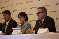 Petrobras announces record loss in 2015. Rio de Janeiro, 21 March 2016: Petrobras holds a press conference to announce financial and operating results for 2015 royalty free stock photo