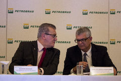 Petrobras announces record loss in 2015. Rio de Janeiro, 21 March 2016: Petrobras holds a press conference to announce financial and operating results for 2015 stock image