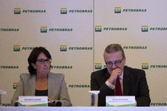 Petrobras announces record loss in 2015. Rio de Janeiro, 21 March 2016: Petrobras holds a press conference to announce financial and operating results for 2015 stock images