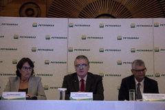 Petrobras announces record loss in 2015. Rio de Janeiro, 21 March 2016: Petrobras holds a press conference to announce financial and operating results for the royalty free stock photo