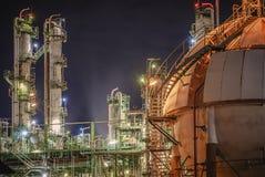 Petrochemical с ночой Стоковые Изображения