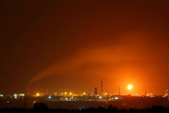 Petrochemical factory at night Royalty Free Stock Photo
