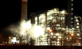 Petrochemical factory at night Stock Photography