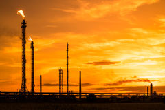 Petrochemical factory at sunset Stock Image