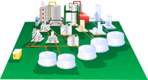 Petrochemical illustration operation diagram Royalty Free Stock Images