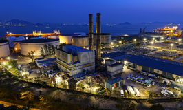 Petrochemical industrial plant at night Stock Photo
