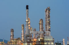 Petrochemical industrial plant power station. At dark of Thailand stock image