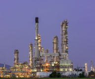 Petrochemical industrial plant power station. At dark of Thailand Royalty Free Stock Photography