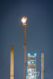 Petrochemical industrial plant power station. At dark of Thailand royalty free stock image
