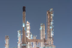 Petrochemical industrial plant power station. At dark of Thailand Stock Photography