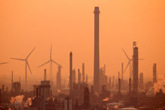 Petrochemical industrial plants Royalty Free Stock Images