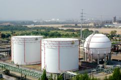 Petrochemical industry. Tank Factory Industrial Estate in Thailand stock image