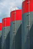Petrochemical industry. Vertical Picture of petrochemical storage tanks Royalty Free Stock Images