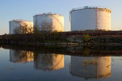 Petrochemical industry containers Royalty Free Stock Photography