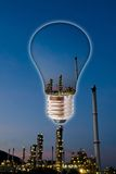 Petrochemical industry with light bulb concept. Royalty Free Stock Image