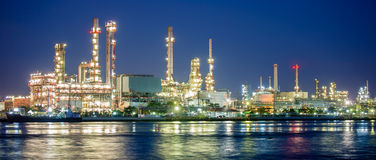 Petrochemical industry night scene in Bangkok Stock Photography