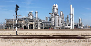 Petrochemical industry and railway Royalty Free Stock Images