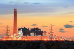 Petrochemical industry on sunset. Royalty Free Stock Photography