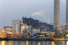 Petrochemical industry on sunset Stock Images