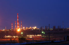 Petrochemical industry view. Petrochemical gas industry night view Stock Images