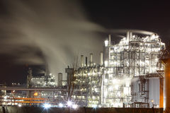 Petrochemical oil and gas refinery plant in night Royalty Free Stock Photo