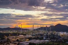 Petrochemical oil refinery factory plant Royalty Free Stock Image
