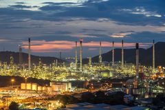Petrochemical oil refinery factory plant Royalty Free Stock Images