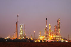 Petrochemical oil refinery plant at night Royalty Free Stock Photo