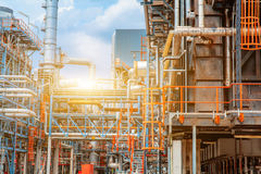 Petrochemical oil refinery, Refinery oil and gas industry, The equipment of oil refining, Close-up of Pipelines and petrochemical. Industrial plant towers view Royalty Free Stock Image