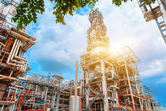 Petrochemical oil refinery, Refinery oil and gas industry, The equipment of oil refining, Close-up of Pipelines and petrochemical Royalty Free Stock Image