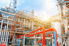 Petrochemical oil refinery, Refinery oil and gas industry, The equipment of oil refining, Close-up of Pipelines and petrochemical Stock Images