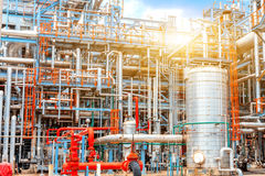Petrochemical oil refinery, Refinery oil and gas industry, The equipment of oil refining, Close-up of Pipelines and petrochemical Stock Photo