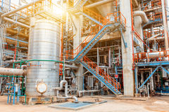 Petrochemical oil refinery, Refinery oil and gas industry, The equipment of oil refining, Close-up of Pipelines and petrochemical Stock Photography