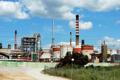 Petrochemical oil refinery, Spain. Royalty Free Stock Images