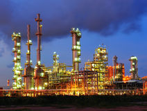 Petrochemical plant. In evening at Thailand Royalty Free Stock Photos