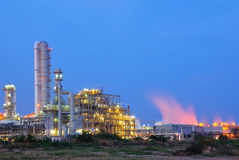 Petrochemical plant. In evening at Thailand royalty free stock photo