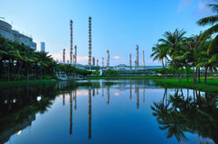 Petrochemical plant. With water in front Royalty Free Stock Image